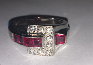Art Deco Ruby and Diamond Buckle Ring Platinum
