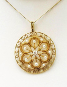 "Late Victorian 14kt Pearl & Diamond Filigree Pendant on 26"" Chain"