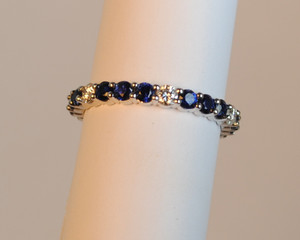 Platinum Diamond & Sapphire Eternity Band Shared Prong
