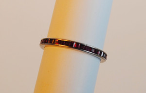 Art Deco Platinum Ruby Eternity Band