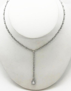 Modern Platinum Diamond Laviaer Style Necklace 4.72ctw.