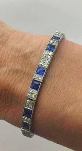 Early Art Deco Natural Sapphire 6.4ctw and Diamond 2.80ctw Line Bracelet Platinum