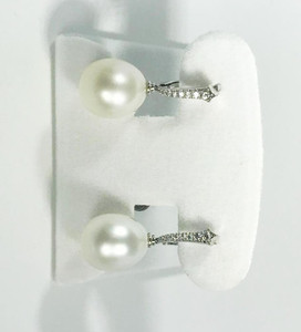 Modern Platinum South Sea Pearl & Diamond Earrings 16.8mm