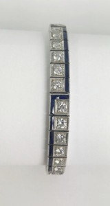 Amazing Art Deco 5.25 carat Diamond and French Cut Sapphire Line Bracelet Platinum