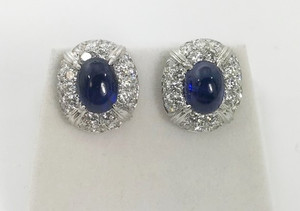 Fabulous Modern Cabochon Sapphire and Diamond Earrings Clip