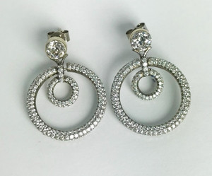 Edwardian 18kt Diamond Hoop Earrings 3.0ctw