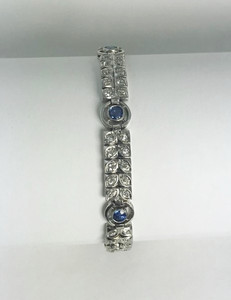 On Sale Art Nouveau Platinum, Diamond and Sapphire Bracelet
