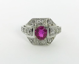 Art Deco Platinum Ruby 1.0ct and Diamond Ring