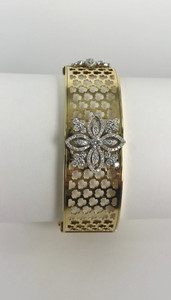 18kt Wide Modern Diamond Flower Bangle Bracelet