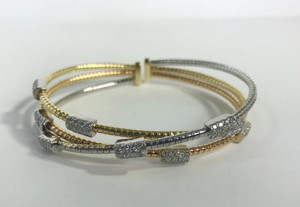Modern 18kt Tri-Color Diamond Cuff 1.20ctw.