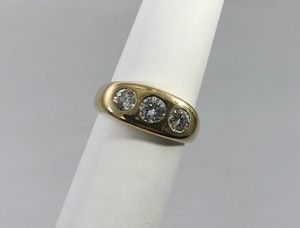Unisex 14kt Gold and Diamond Gypsy Ring 1.0 carat
