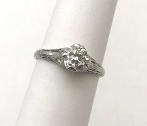 Art Deco .70 Carat Diamond Engagement Platinum Ring