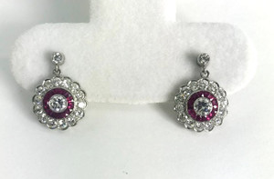 Art Deco Style Ruby and Diamond Earrings Platinum