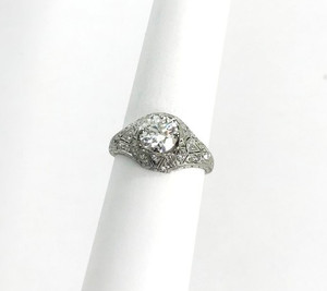 Art Deco Platinum Diamond Filigree Engagement Ring 1.01 GIA Cert