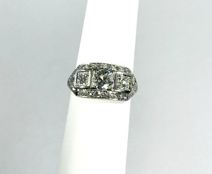 Art Deco Platinum 3-Stone Diamond Ring  2.25ctw.