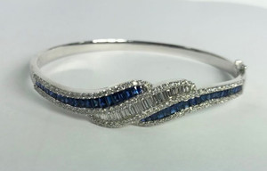 18K White Gold French Cut Sapphire and Diamond Bangle