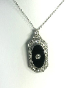 Art Deco Platinum, Onyx & Diamond Filigree Pendant
