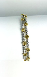 Estate 18K White and Yellow Diamond Bracelet 3.51ctw