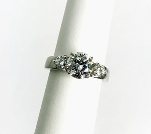 Estate 18kt White Gold 3-Stone Diamond Engagement Ring 1.89ctw. GIA Cert