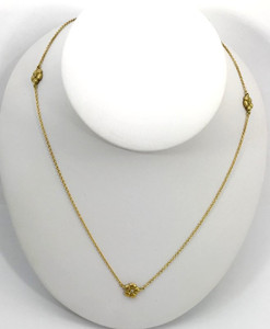 Modern 18kt Yellow Gold Flower Layering Necklace with Diamonds
