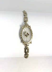 Edwardian Diamond Camphor Glass 14 Karat White Gold Bracelet