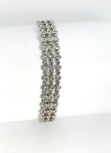 Estate 14kt Bezel Set Diamond Link Bracelet 3.09ctw