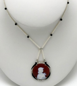 Edwardian Cameo with Diamonds, Seed Pearls and Black Onyx Necklace Platinum over Yellow Gold