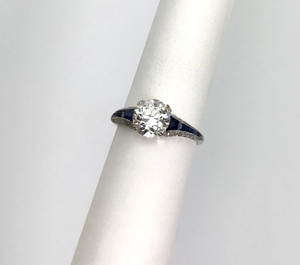 Art Deco Platinum Diamond and Sapphire Ring 1.50ct