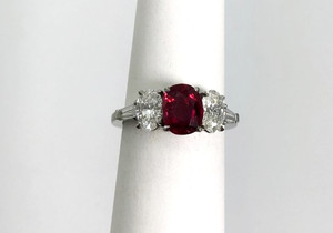 Estate Platinum 3-Stone Ruby 1.48cts and Diamond 1.30ctw Ring