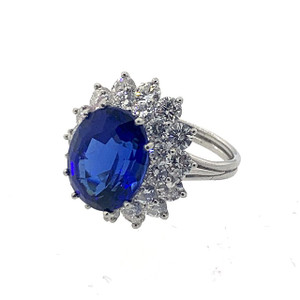 Large Modern Tiffany and Co. 7.16ct Tanzanite and 2.96ctw.Diamond Platinum Ring