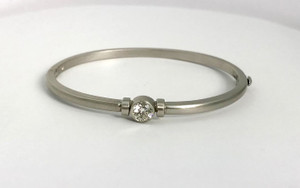 Modern 14kt Brushed White Gold Diamond Bangle .70ctw