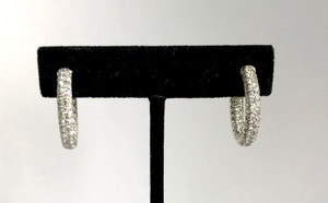 14kt White Gold Inside/Outside Diamond Hoops 4.6ctw.