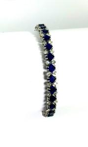 French Modern Sapphire 12ctw.  & Diamond 3ctw. Platinum Bracelet