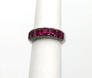 Estate 18kt Ruby and Diamond Band