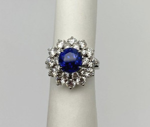 Tiffany and Co. No Heat Sapphire and Diamond Statement Ring