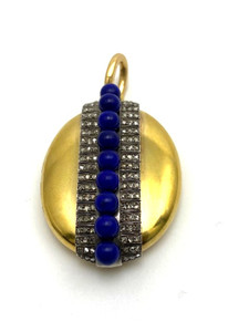 FRENCH VICTORIAN 18KT GOLD & SILVER DIAMOND LAPIS LOCKET