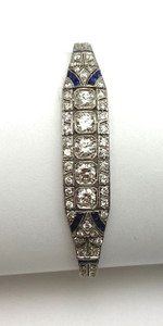 Art Deco Platinum and Diamond Line Bracelet