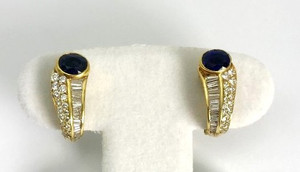 Estate Sapphire and Diamond Earrings 18kt Yellow Gold