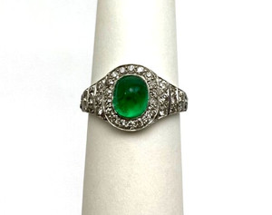 Platinum Art Deco Flexible GIA Certified Emerald and Diamond Ring