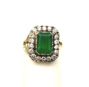 Victorian 14kt Gold Emerald & Diamond Cluster Ring