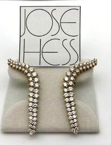 Jose Hess Curved Diamond Drop Omega Earrings 6.0ctw