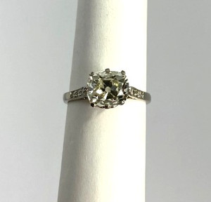 Edwardian Platinum Cushion Cut Diamond Engagement Ring approximately 2.18 ctw.