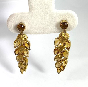 Victorian Citrine Dangle Leaf Earrings 9ct Yellow Gold