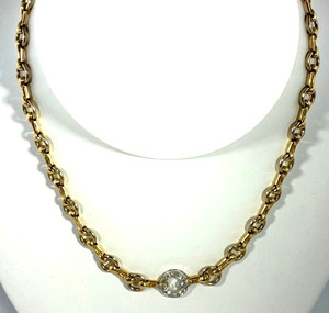 Cartier Two Tone 18kt Gold and Diamond Necklace