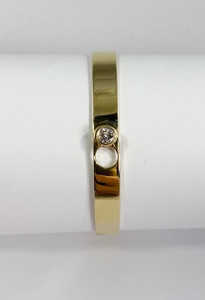 Modern Stackable 14kt Gold Bangle with Diamond Clasp