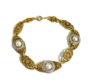 Art Nouveau 18kt Natural Pearl and Diamond Link Bracelet