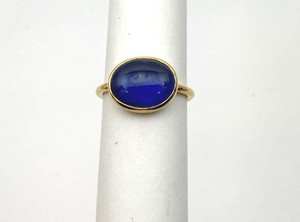 Victorian 18kt Minimalistic Cabochon  Sapphire Ring