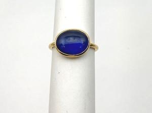 Victorian 18kt Minimalistic Cabochon  Sapphire Ring