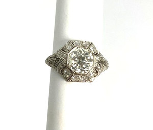 Art Deco Platinum Diamond Engagement Ring 1.60ct center