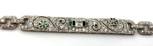 Art Deco Diamond 5+Cts Emerald and Onyx  Platinum Bracelet